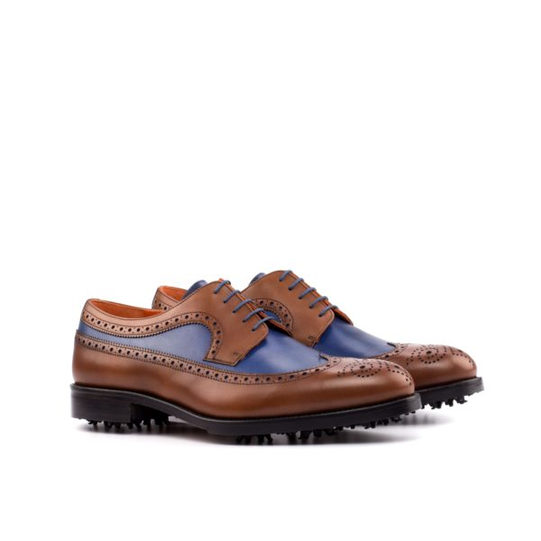brown and navy leather Golf Shoes COUPLES by Civardi