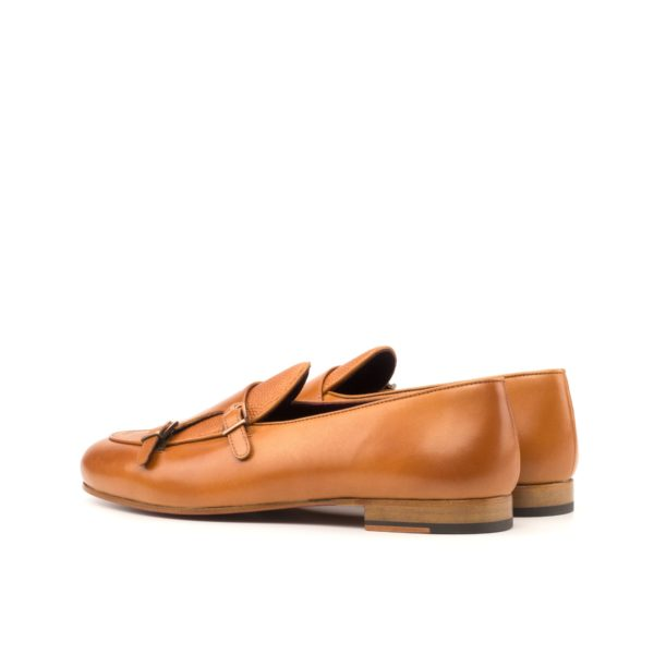 rear tan colored heel on leather Monk Slippers CARMINE