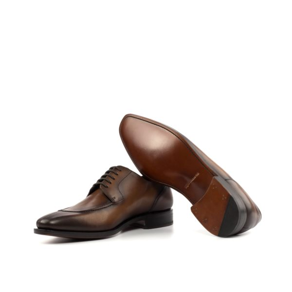 Brown leather Goodyear welted soles on Split Toe Derby Shoes CONGRESS