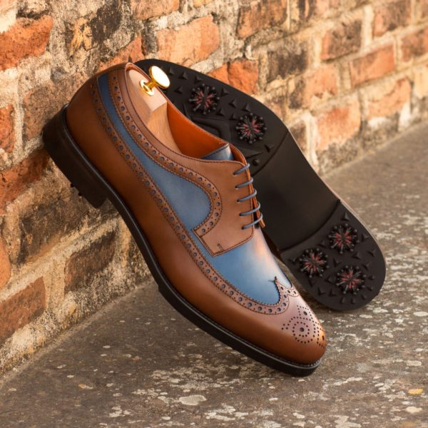 customize a pair of brown and navy Golf Shoes COUPLES
