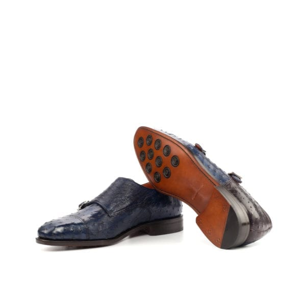 goodyear welted Ostrich Double Monk Shoes ROWLAND