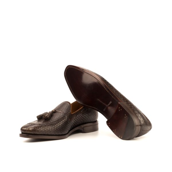 plain brown goodyear welted leather soles on python tassel Loafers SANDWELL