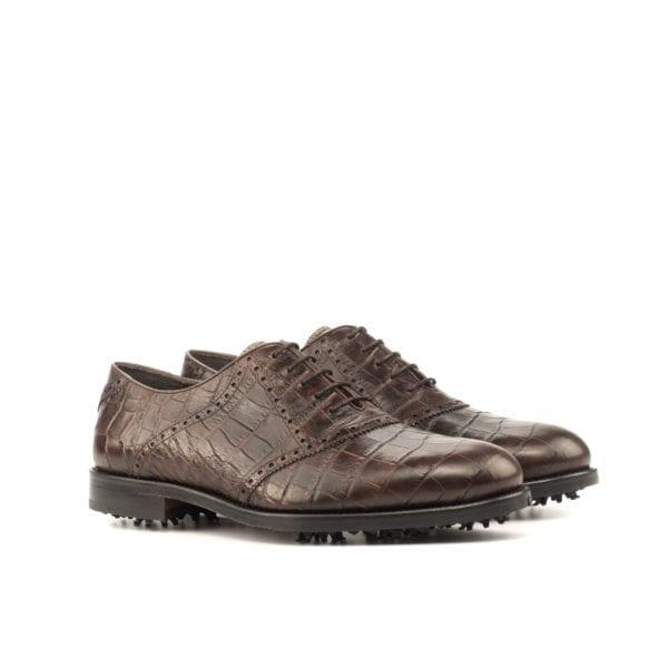 dark brown croc leather Saddle Golf Shoes LANGER