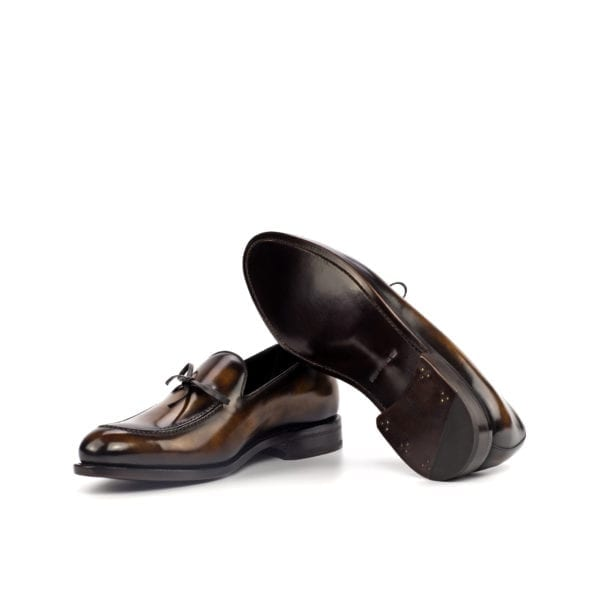 brown Patina Loafers with lace bow NIXON