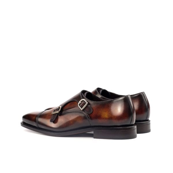 brown Patina Double Monk Shoes FALUCCI