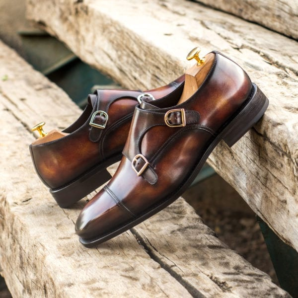 order custom made museum Patina Double Monk Shoes FALUCCI