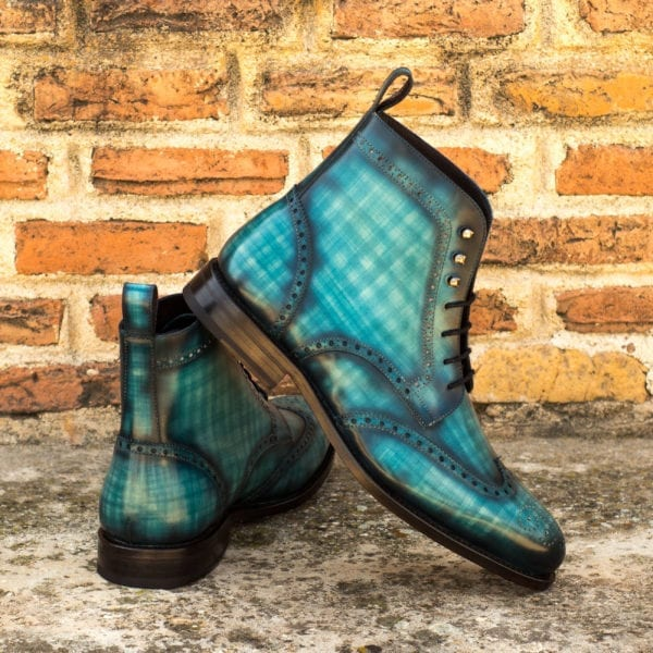 order custom turquoise Patina Leather Brogue Boots PARADE