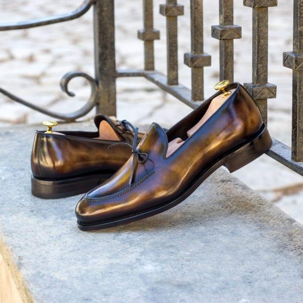 order custom tobacco Patina leather Loafers NIXON