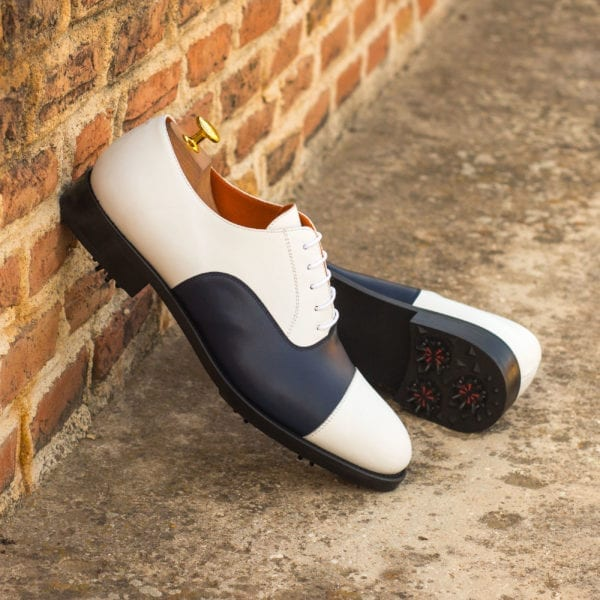 order custom made white and navy Golf Shoes ROSE