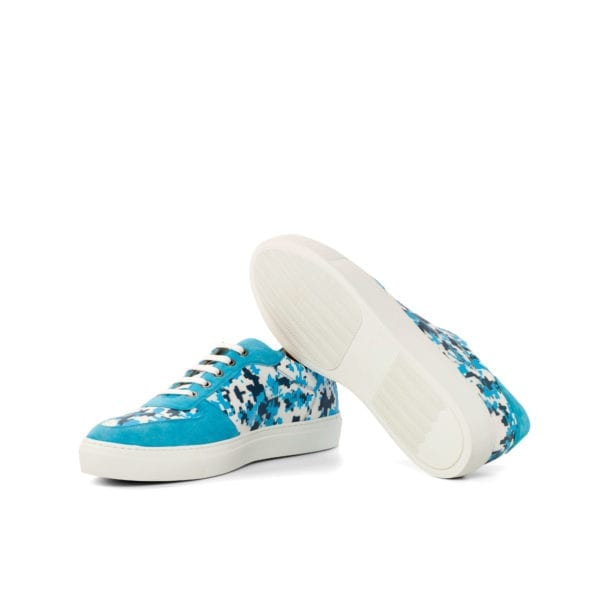 white leather and turquoise suede Stencil Art Low-Tops BRIGHTSIDE
