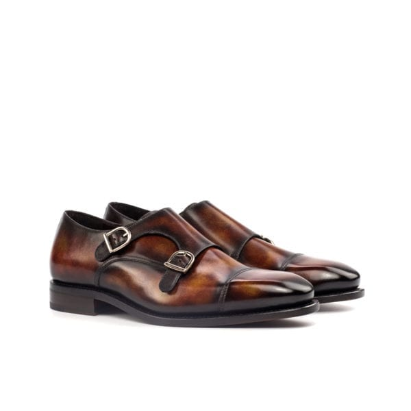 brown museum patterned Patina leather Double Monk Shoes FALUCCI