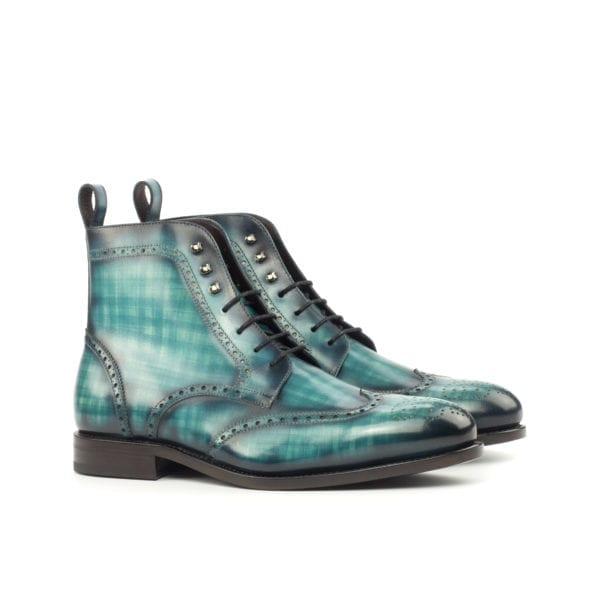 turquoise Patina Leather Military Brogue Boots PARADE