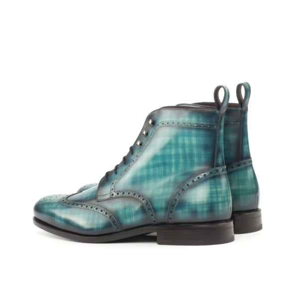 turquoise Patina Leather Brogue Boots PARADE