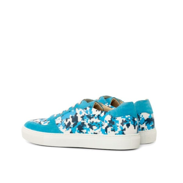 turquoise and white Stencil pattern trainers BRIGHTSIDE
