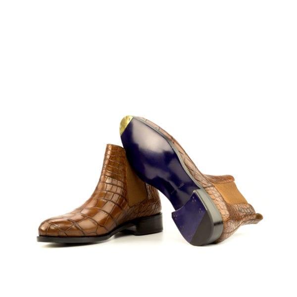fiddle waist soles on tan Alligator Chelsea Boots WETLANDS