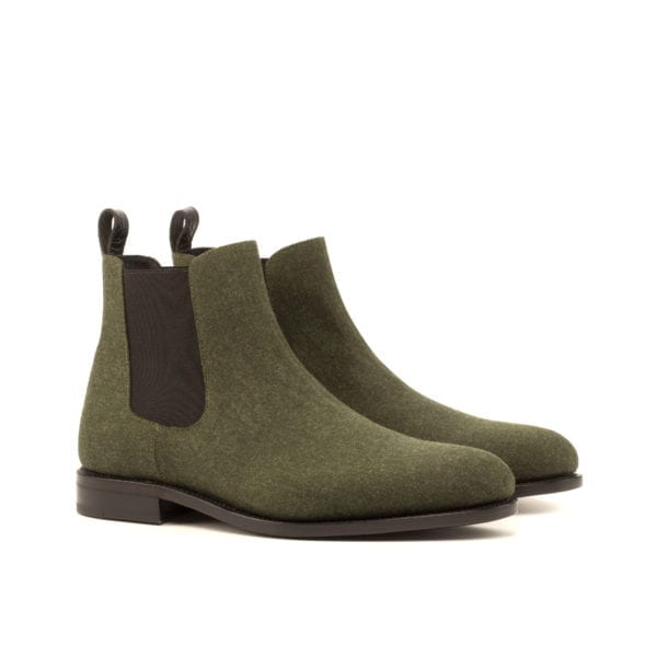 green fabric covered Chelsea Boots for men HARVEY