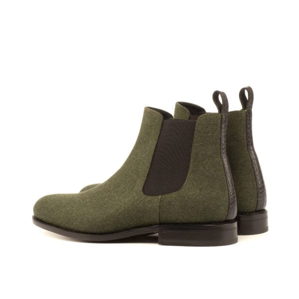 green flannel Chelsea Boots with black croco trim HARVEY
