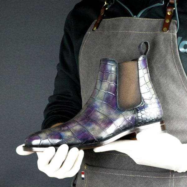 special limited edition purple patina croco leather Chelsea Boot ZIGGY