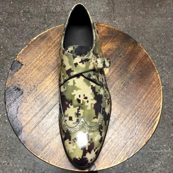 unique digital camo patterned patina leather Monk Shoes BLITZ