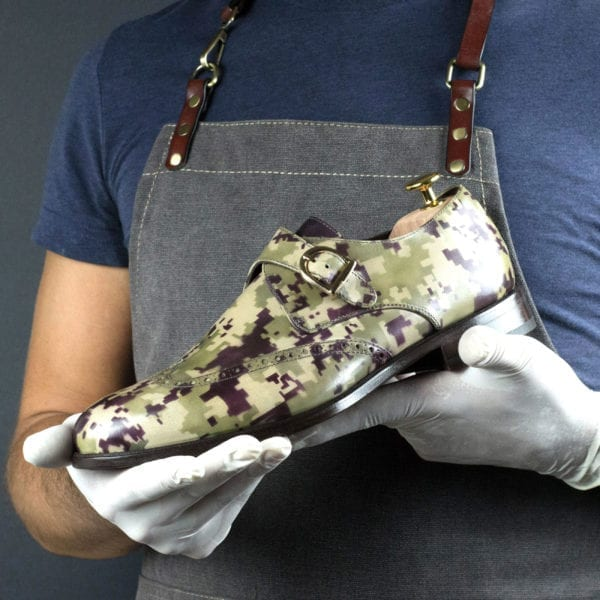 Special Edition digital camo pattern patina leather Single Monk Shoe BLITZ