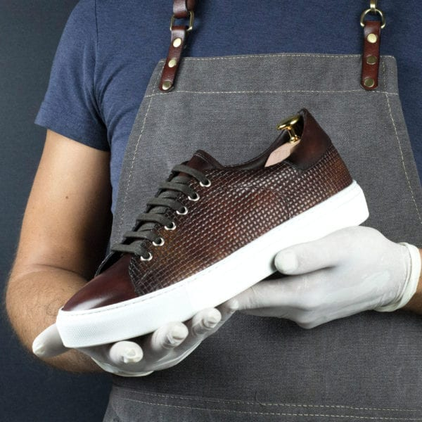 Special Edition brown embossed patina leather Trainers EMBOSS