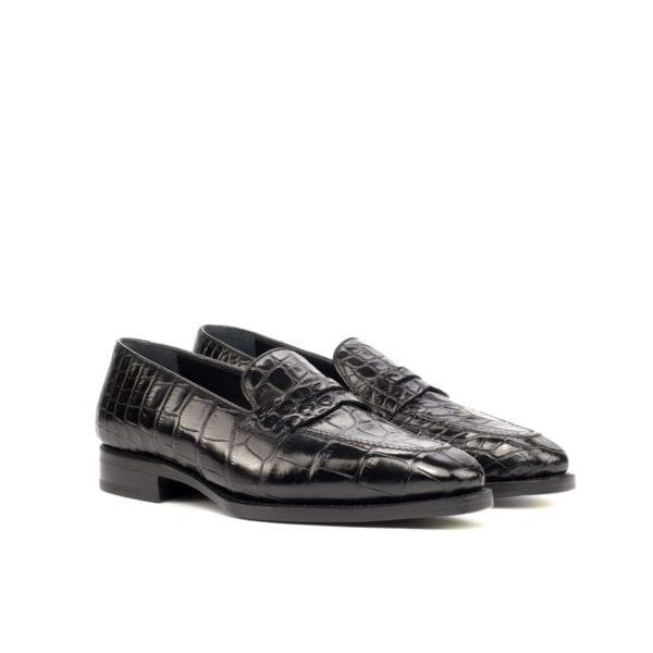black genuine Alligator Loafers for men PIERS