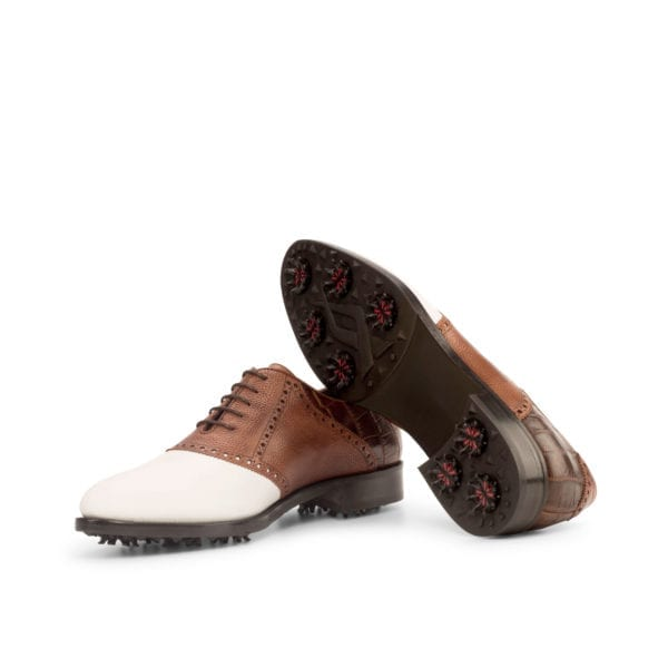 brown and white leather Saddle Golf Shoes WOOSNAM