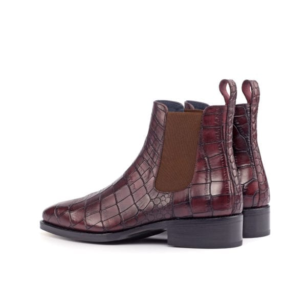 burgundy croco embossed leather Chelsea Boots GRIEVE