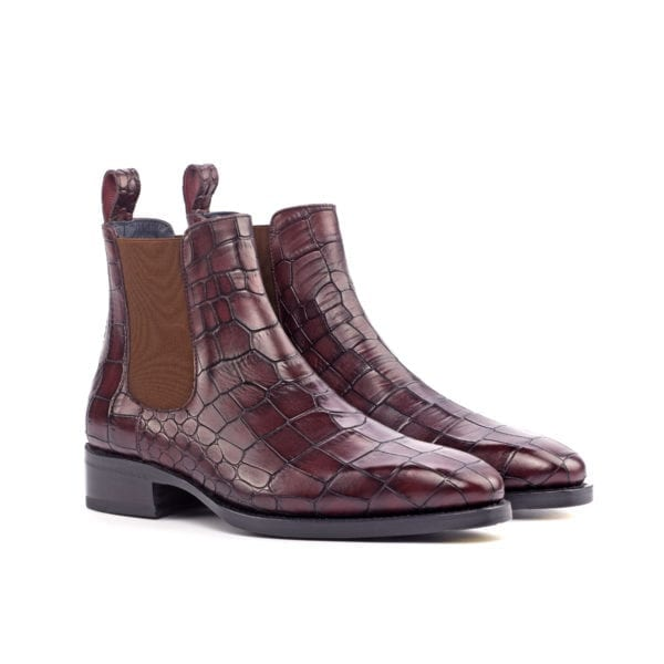 burgundy embossed croco leather Chelsea Boots GRIEVE